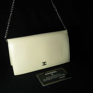 Chanel CC Logo Beige Leather Long Wallet or Clutch